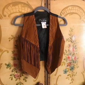 🌙Vintage Caramel Suede Leather Fringe Vest